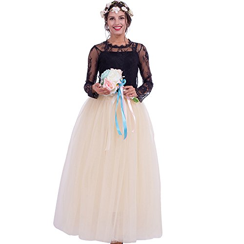 Party Train Women Bridal Tulle Skirt Maxi Long Multi Layered Prom Ball Gown Elastic Waist(Beige)