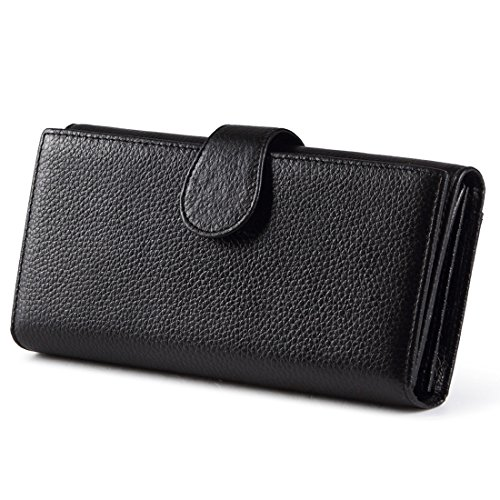 Huztencor Womens RFID Blocking Wallet Clutch Leather Long Credit Card Holder Wallet for Women Black