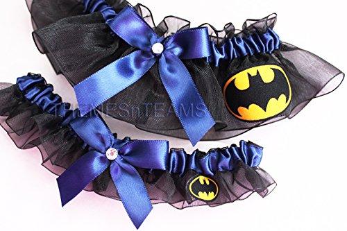 Customizable handmade – Black & Navy Blue – Batman fabric handcrafted keepsake bridal garters wedding garter set
