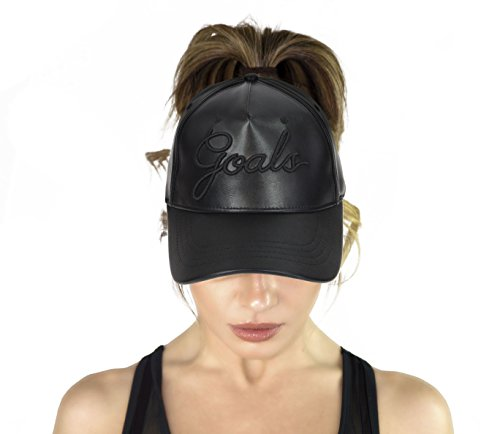 AB Butter Goals Ponytail Hole Strapback Baseball Cap Dad Hat – Black Leather