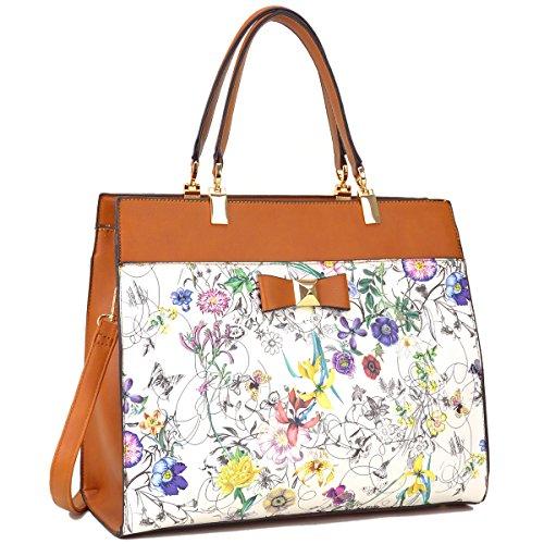 7fbe5ec46d84 Dasein Women s Fashion Designer Satchel Handbags Purse Shoulder Bag Work Bag  With Removable Shoulder Strap (F-6338 Brown Floral)