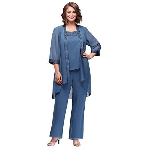 David's Bridal Chiffon Plus Size Pantsuit with High-Low Jacket Style 25799, Blue, 18W