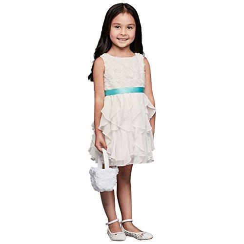 David's Bridal Rosette Flower Girl/Communion Dress With Ruffled Skirt Style OP242, Soft.
