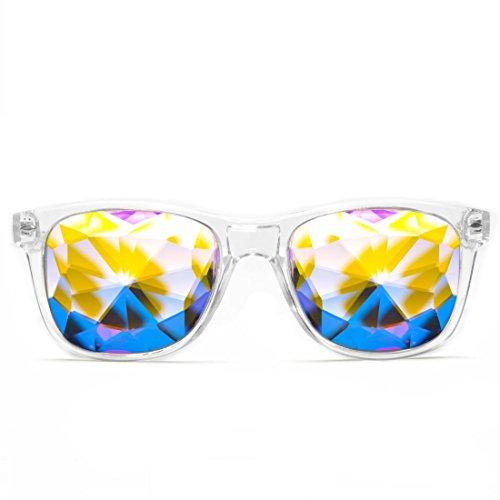 GloFX Ultimate Kaleidoscope Glasses – Clear – Rainbow EDM Rave Light Diffraction Eyewear (Clear)
