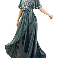 Imily Bela Womens Boho Embroidery Floral Asymmetrical Wrap Maxi Dress with Belt