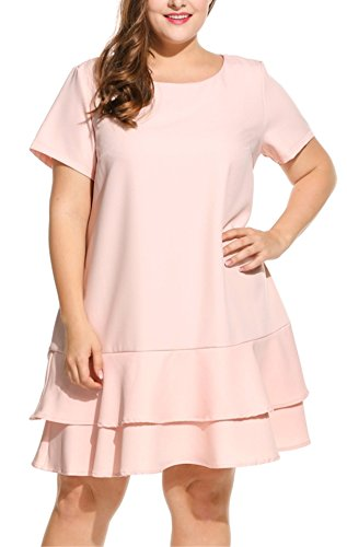 Kancystore Women Plus Size Ruffles Wear to Summer Wedding Dress Pink (XL, Pink)