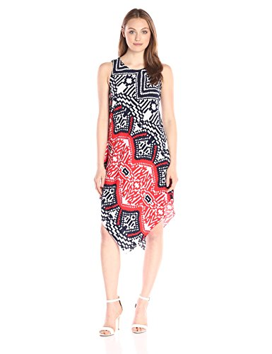 MSK Women's Placement Printed Hanky Hem Knit Dress, Navy/Orange, Large