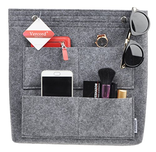 Vercord Felt Tote Handbag Purse Pocketbook Organizer Insert Divider Shaper Bag in Bag, Xlarge-Dark Grey