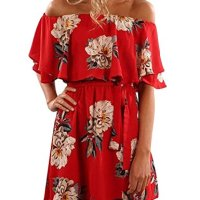 Yobecho Women Summer Off Shoulder Strapless Floral Print Pleated Dresses (S, Red)