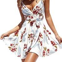 ECOWISH Womens Dresses Summer Floral Print V-Neck Spaghetti Strap Mini Swing Skater Dress with Belt White M