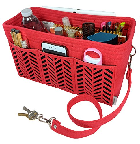 BELIANTO Felt Purse Organizer – Middle Insert, Bottle Holder for Tote Handbag Purse (Herringbone) (Large, Red)
