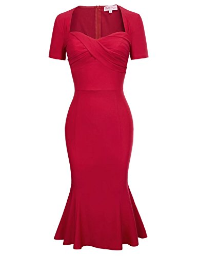 Belle Poque Women Short Sleeve Sweetheart Neck Mermaid Pencil Dress Red Size S BP524-1