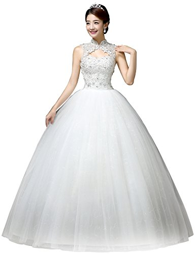 Clover Bridal 2017 Elegant Jewel Scoop Capped Lace Beaded Ball Gown Wedding Dress White (2)