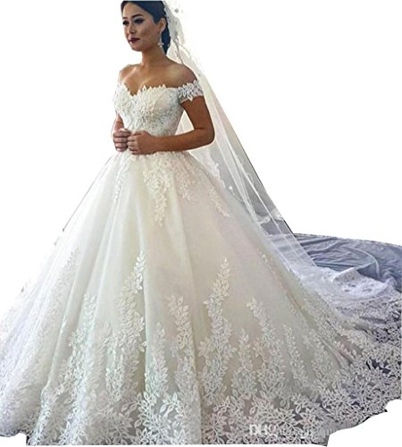 Fanciest Women's Lace Wedding Dresses for Bride 2019 Ball Gowns White Style 1 US2