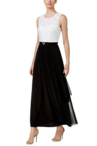 R&M Richards Women's Scoop-Neck Solid Sleeveless Long Maxi Dress, White/Black, 6