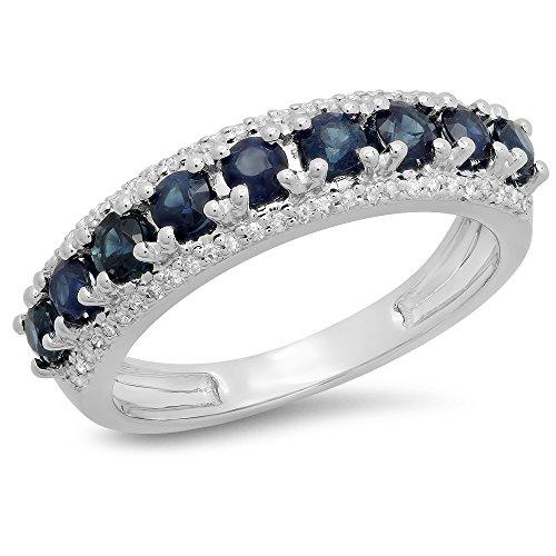14K White Gold Round Gemstone & White Diamond Ladies Anniversary Wedding Stackable Band