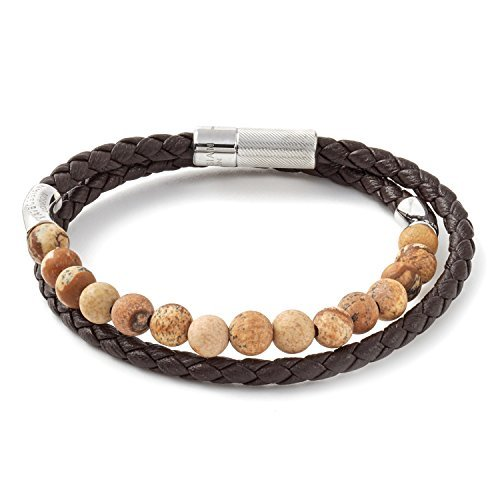 Tateossian Mens Havana Silver Bracelet Italian braided Leather