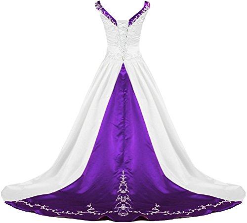 APXPF Women's V Neck Satin Embroidery Wedding Dress for Bride Chapel Train White and Purple US14
