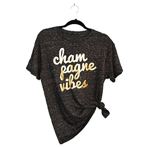 Champagne Vibes | Womens Tee | Heather Black and Metallic Gold