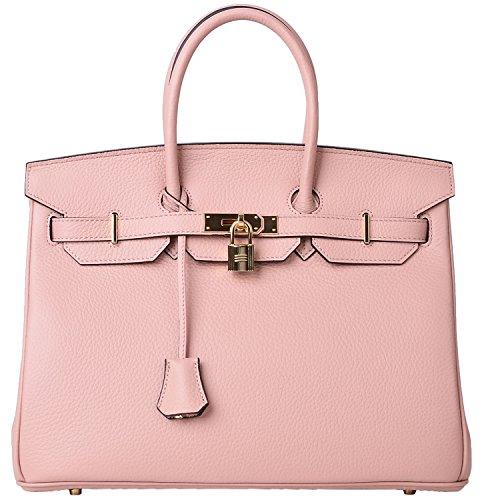 Cherish Kiss Women's Classic Genuine Leather Tote Padlock Handbags (35CM, Light pink)