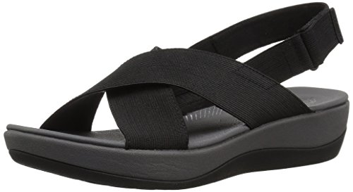 CLARKS Women's Arla Kaydin Sandal, Black Elastic Fabric, 8 Medium US