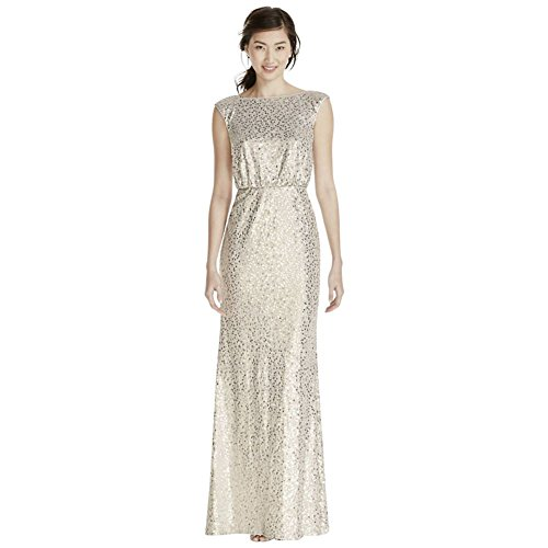 David's Bridal Long All-Over Sequined Blouson Bridesmaid Dress Style F19022, Silver, 1X