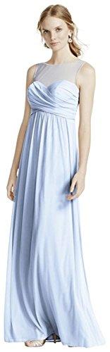 David's Bridal Long Mesh Bridesmaid Dress with Illusion Neckline Style F15927, Ice Blue, 26