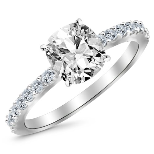 GIA Certified 0.75 Carat Cushion Cut/Shape 14K White Gold Gorgeous Classic Sidestone Pave Set Diamond Engagement Ring Ring 4 Prong with a 0.51 Carat, K Color, VS2 Clarity Center Stone
