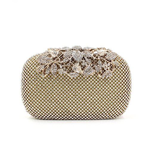 6b09e8117e Gold Clutch Purses Classy Flower for Women Luxury Rhinestone Crystal  Evening Clutch Bags Vintage Party (gold)