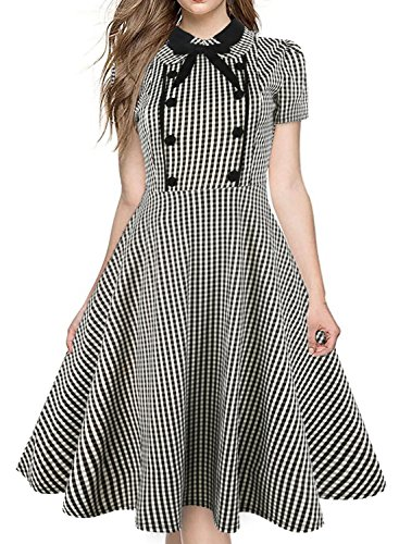 HELYO Work Dresses for Women Summer Vintage Plaid 50s Bow Tie Neck Rockabilly Skaters Swing Dresses 212(XL,Gray)