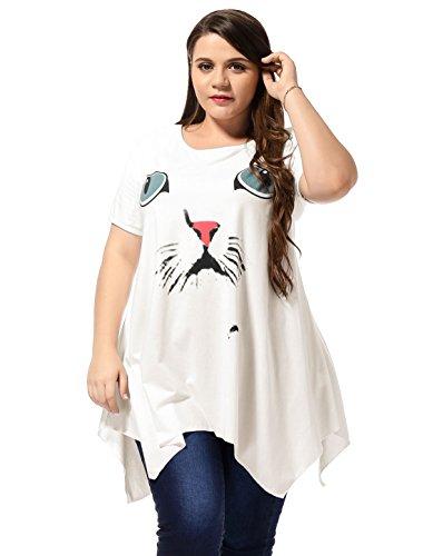 Kaia Alya Ladies Plus Size Short Sleeves Irregular Hem Summer Dress White 3X