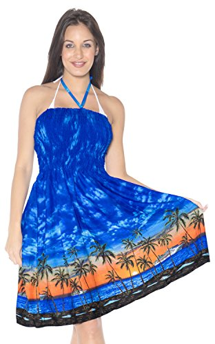 LA LEELA Soft  Printed Party Sundress Tube Dress Royal Blue 956 One Size