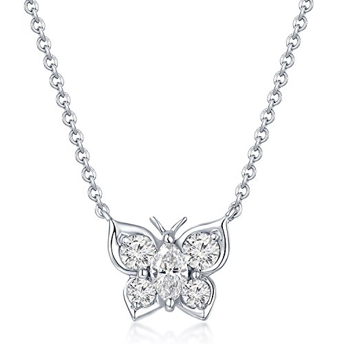 MaBelle 18K White Gold Diamond Butterfly Pendant Necklace (0.39 cttw)