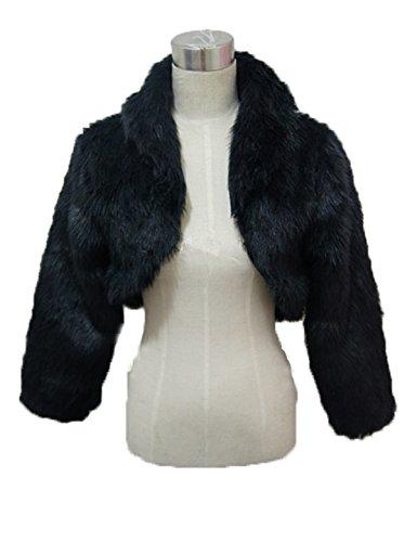 YIYUANCHENGYIN Long Sleeve Faux Fur Wedding Bridal Jacket Bolero (black)