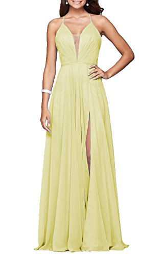 YORFORMALS Women's Halter Deep V-Neck Long Chiffon Prom Dress Formal Evening Gown Side Slit Size 6 Yellow