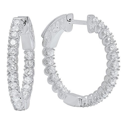 1.20 Carat (ctw) 14K Gold Round White Diamond Ladies Fine In And Out Hoop Earrings 1 1/4 CT