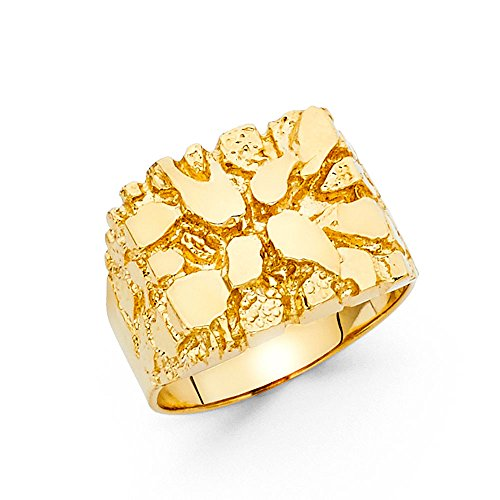 Solid 14k Yellow Gold Mens Nugget Ring Textured Band Diamond Cut Genuine Heavy 15MM