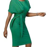 Abninigee Womens Bodycon Short Sleeve High Waist Party Midi Pencil Dress with Belt