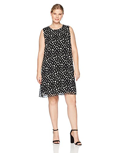 Calvin Klein Women's Plus Size Sleeveless Round Neck Trapeze Dress, Black/White, 20W