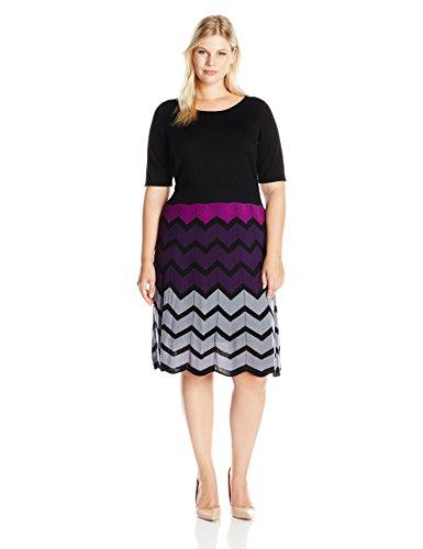 Gabby Skye Women's Plus Size 3/4 Sleeve Scoop Neck Sweater A-line Dress, Black/Purple, 2X