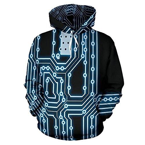 Hoodie Sweatshirt – Unisex 3D Circuit Board Print Pullover Hooded Sweatshirt