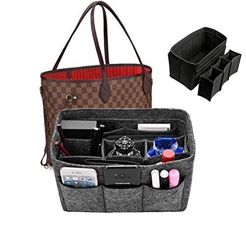 Kumako handbag organizer insert,purse organizer Felt fabric bag organizer For Handbag(9Color,3Size) (Gray-L)