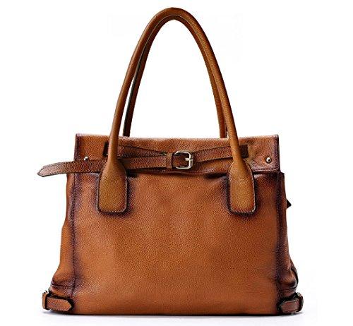 La Poet Genuine Leather Shoulder Tote Bag (Camel)