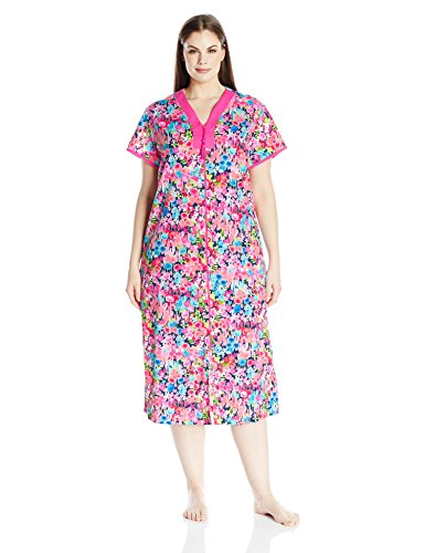 Miss Elaine Women's Plus Size Interlock Knit Long Robe, Multi Floral, 2X
