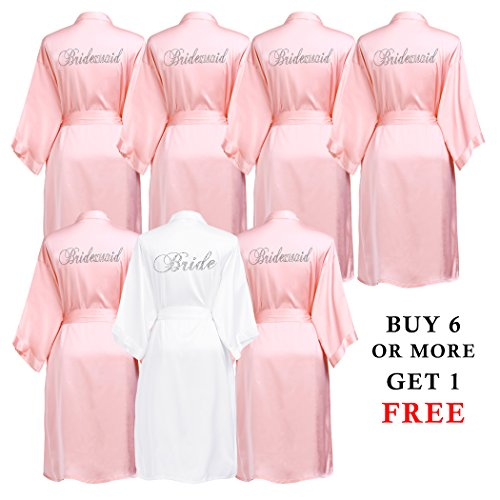 PROGULOVER Set Of Bridesmaid Robes Buy 6 Get 1 Free Rhinestone With Crystals Bridesmaid Gift Personalized Bridesmaid Satin Bride Robes Shower