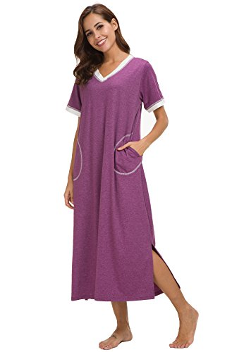 Supermamas Long Nightgown Womens Cotton Knit Short Sleeve Nightshirt with Pockets(Purple, XXL)