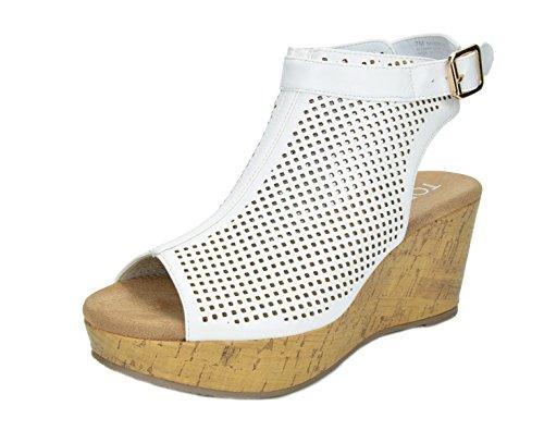 TOETOS Women's Sandro-03 White Pu Mid Heel Platform Wedges Sandals – 8.5 M US