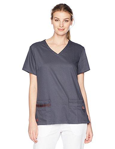 Urbane Women's Plus Size Ulimate Modern Fit 4-Pocket Julie Scrub Top, Graphite/Blaze, 2X-Large