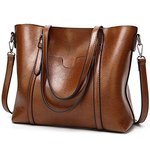 UTO Women Tote Bag Soft PU Leather Shoulder Bags Large Capacity Shopper Handbag Brown