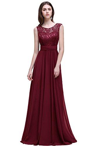2acab2660bb4 Womens Round Neck Chiffon Lace Wedding Dress Formal Evening Dress ,Burgundy,12